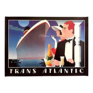 "Stephen Haines Hall Rare Vintage 1980's Post Modern "" Trans Atlantic "" Lithograph Print Travel Poster For Sale"
