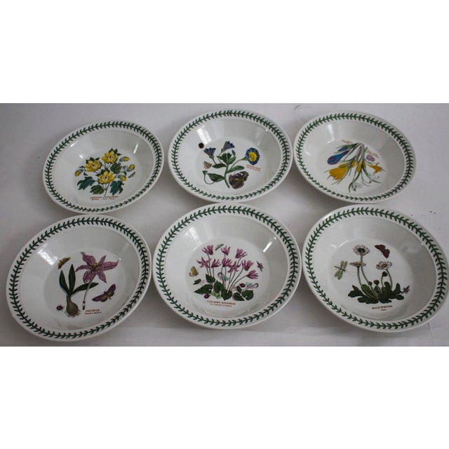 Portmeirion china, set of 6 rimmed soup bowls in the Botanic Garden pattern. Each bowl has a different design & includes 1...