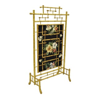 Antique Victorian Aesthetic Movement Gold Gilt Wood Faux Bamboo Fire Screen For Sale