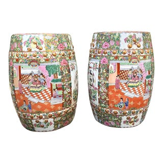 Antique Chinese Famille Rose Signed Porcelain Garden Stools - a Pair For Sale