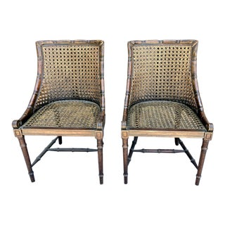 Vintage Caned Regency Style Side Chairs - a Pair For Sale