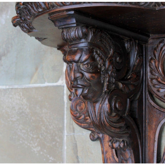 Antique French Oak 19th Century Large Gothic Figural Hand Carved Wall Shelf Corbel Bracket For Sale - Image 10 of 13