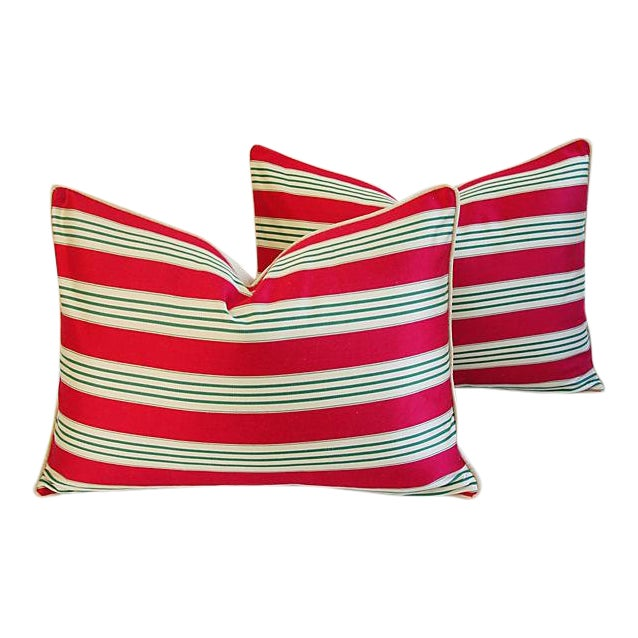 Red, Cream & Green French Stripe Ticking Velvet Feather/Down Pillows - Pair For Sale
