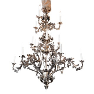Large Scale Rococo Style Silvered Bronze 18-Light Chandelier, French Circa 1880 For Sale