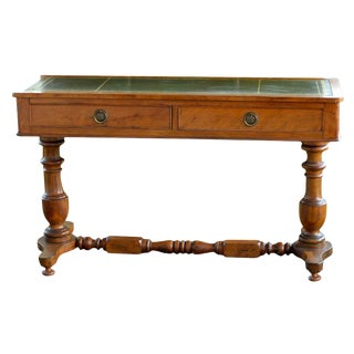 19th Century English Sofa Table With Green Leather Top For Sale