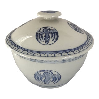 Chinese Blue & White Rice Bowl W/ Lid For Sale