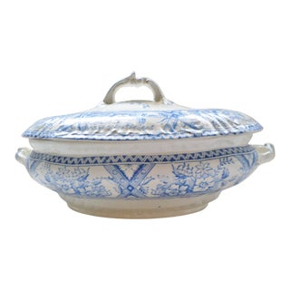 1895 Antique Blue and White With Floral Design Covered Vegetable Tureen For Sale