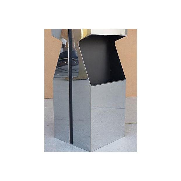 George Kovacs Chrome & Black Angled Lighted Pedestal For Sale - Image 5 of 10