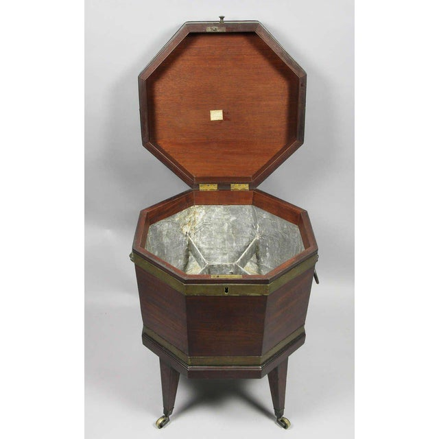 George III Mahogany and Brass Mounted Cellerette For Sale - Image 4 of 11