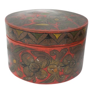 Early 20th Century Antique Russian Painted Box For Sale