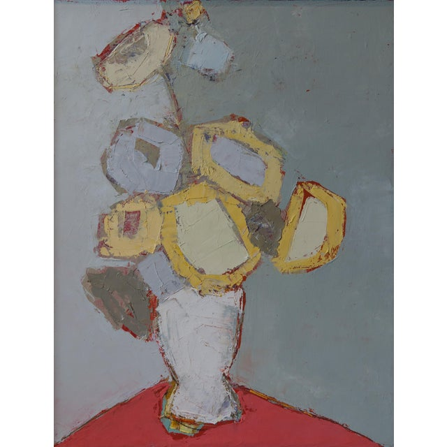 """Bill Tansey """"Yellow"""" Abstarct Floral Oil Painting on Canvas For Sale"""