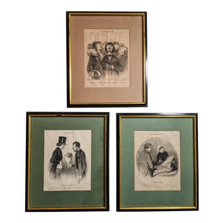 19th Century French Prints by Artist Chez Aubert Dated 1852 With Gold and Black Wood Frames - Lot of 3 For Sale