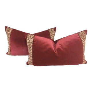 Dusty Rose Velvet Lumbar Pillows – a Pair