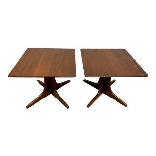 Early Heywood-Wakefield Walnut Side Tables - a Pair For Sale