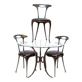 Art Deco Italian Palladio Cast Aluminum Cafe Set - 4 Pieces For Sale