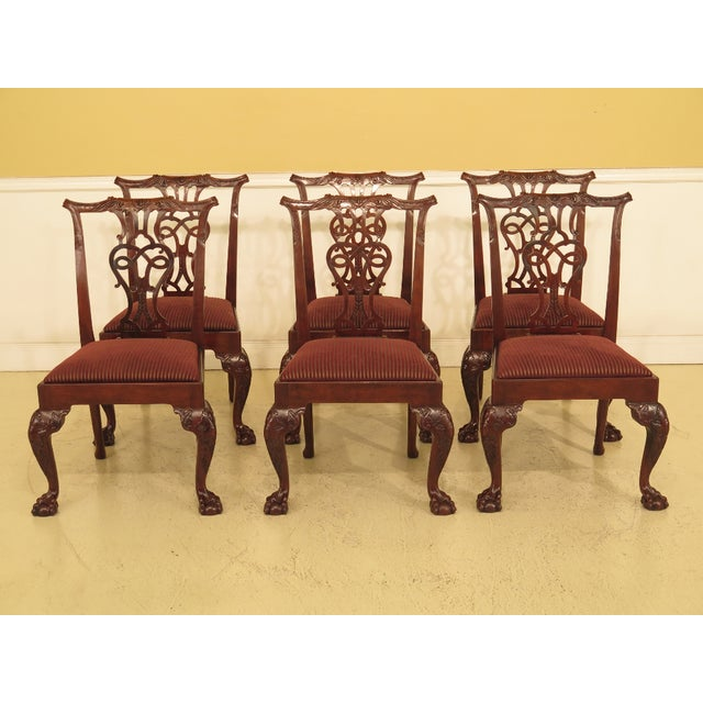 1990s Vintage Baker Chippendale Mahogany Dining Room Chairs- Set of 6 For Sale - Image 13 of 13