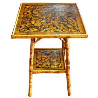 Boho Chic 2-Tier Bamboo Table Decoupaged With Shells For Sale