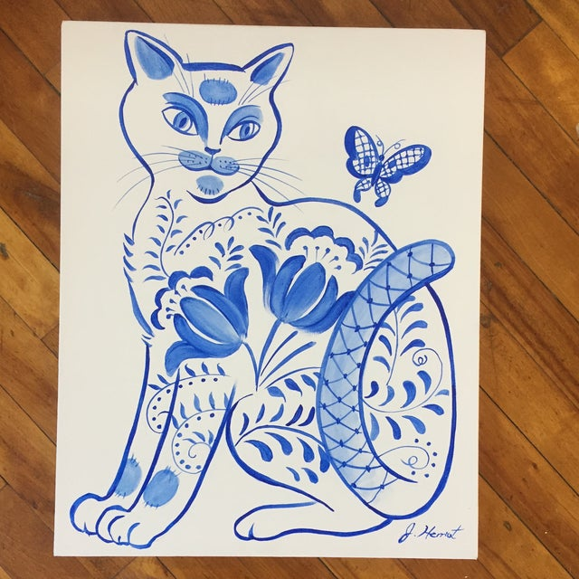 Original Painting Cat With Butterfly by Jane Herriot For Sale In Philadelphia - Image 6 of 6