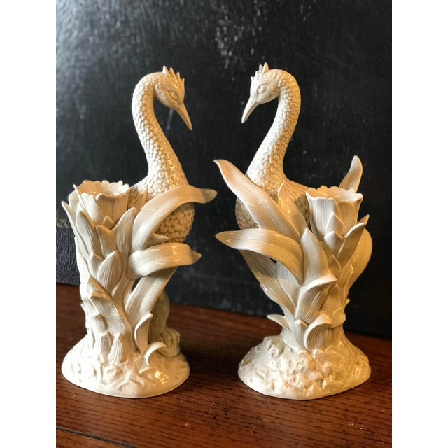 Vintage Fitz and Floyd Ceramic Heron and Palm Leaf Candle Holder-Pair For Sale - Image 11 of 11