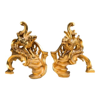 Louis XV-Style Gilt Iron Chenets With a Poodle and a Hound - a Pair For Sale