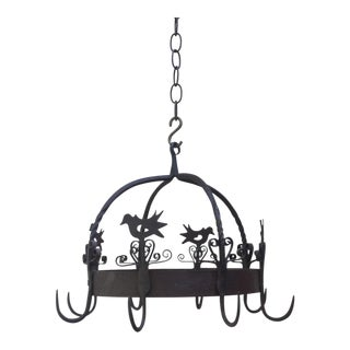 Vintage French Iron Crown Birds Pot Rack For Sale