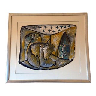 Contemporary Abstract Framed Gouache on Paper Drawing by Jean-Jacques Blot For Sale