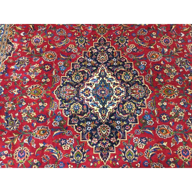 1970s Vintage Persian Kashan Rug - 9′7″ × 12′9″ For Sale In Pittsburgh - Image 6 of 7
