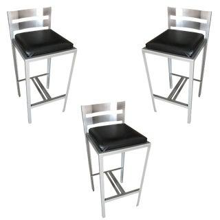 Industrial Loft Modernist Powder Coated Steel Bar Stools, Set of 3 For Sale