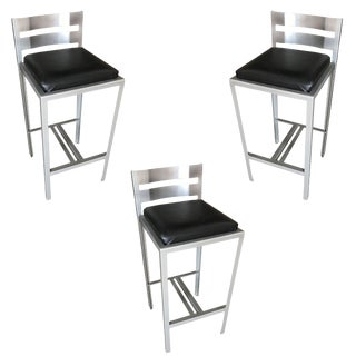 Modernist Industrial Loft Powder Coated Steel Bar Stools - Set of 3 For Sale