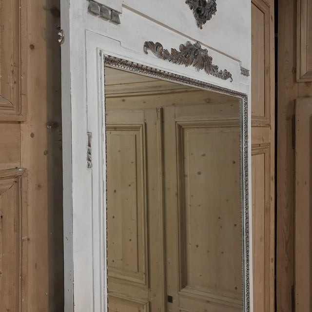 White 19th Century Louis XVI Neoclassical Painted Trumeau Mirror For Sale - Image 8 of 11