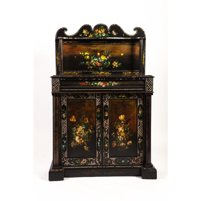 Traditional English Mother-of-Pearl Painted Victorian Cupboard For Sale - Image 3 of 3