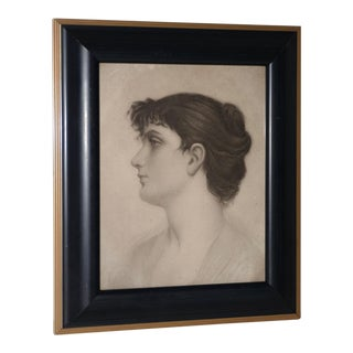 Early 20th Century Graphite Portrait of a Young Woman C.1910 For Sale