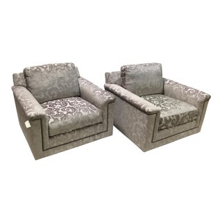Modern Lexington Swivel Chairs- A Pair For Sale