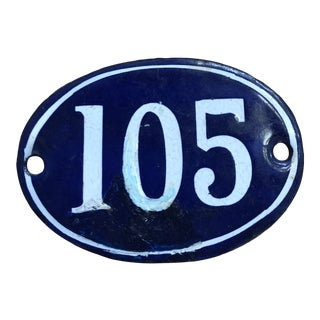Late 19th Century French Navy Blue Enamel Over Metal Building Number 105 For Sale