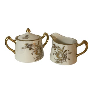 "1930s Pickard China ""Gold Floral"" Sugar Bowl and Creamer - a Pair For Sale"