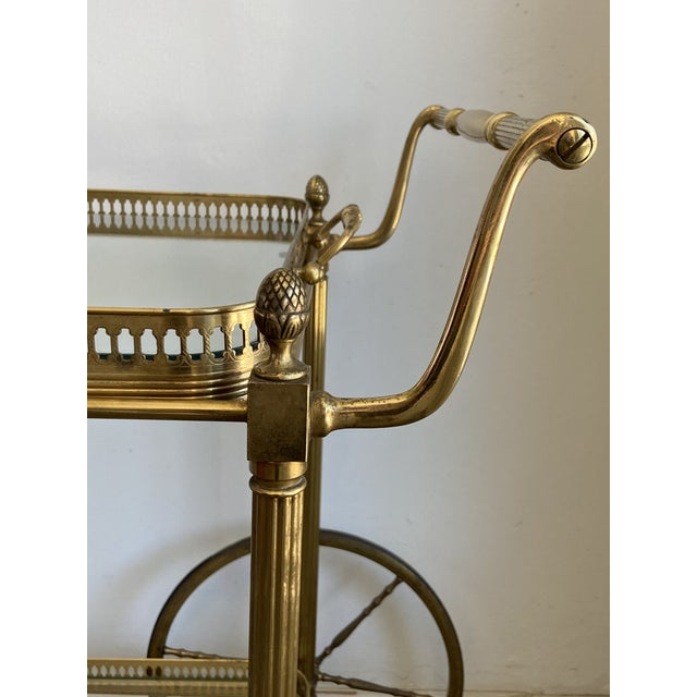 Mid 20th Century Vintage Brass Bar Cart For Sale - Image 5 of 9