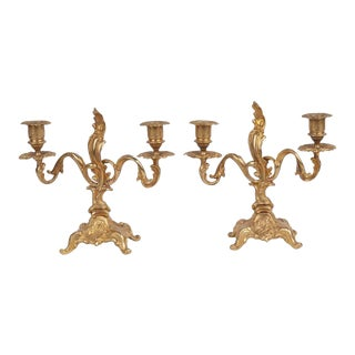 1950s French Rococo Gilt Candlesticks - a Pair For Sale