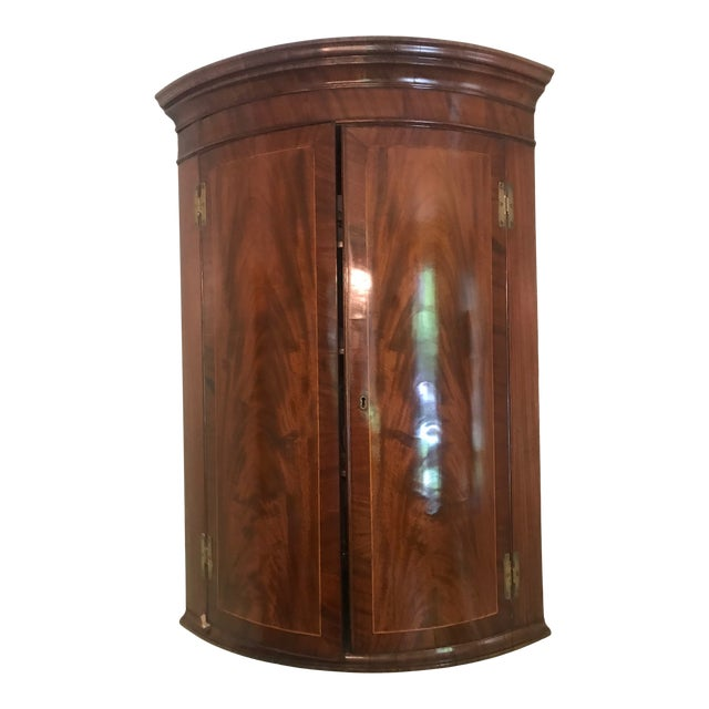 Early 19th Century English Mahogany Regency Bow Front Corner Cabinet For Sale