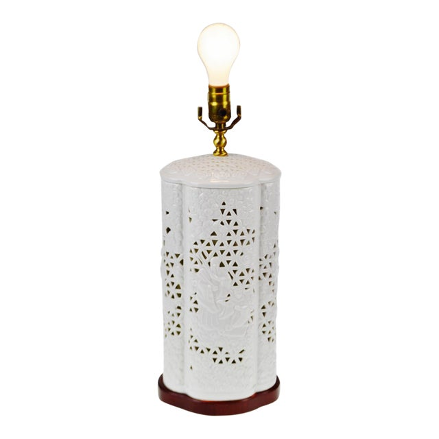 Seyei Blanc De Chine Reticulated Porcelain Lamp - Image 1 of 11