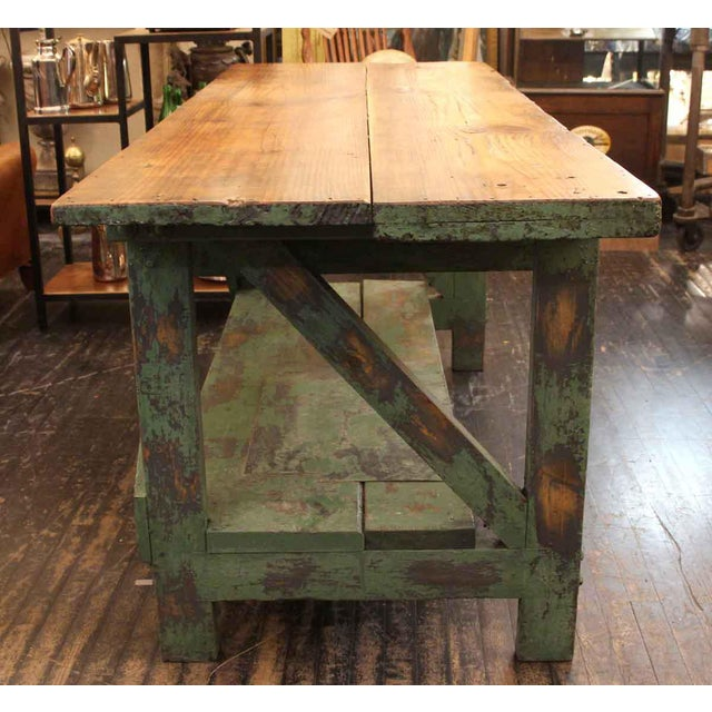 Mid 20th Century Vintage Large Industrial Green Painted Work Table For Sale In New York - Image 6 of 8