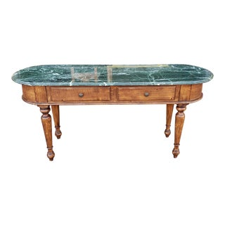 Green Marble Top Bloomingdales 2 Drawer Hallway Entrance Way Console Sofa Table For Sale