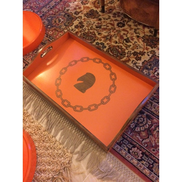 Hollywood Regency Hermès Inspired Orange Equestrian Bar Tray Table For Sale - Image 9 of 12