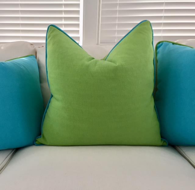 Lime Green With Turquoise Contrast Welt Pillow   Image 2 Of 6