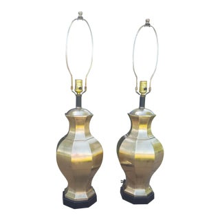A Pair- Vintage Ethan Allen Brass Chinoiserie Ginger Jar 3 Way Lamps