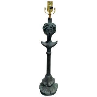 """Bronze """"La Tete De Femme"""" Lamp, Verdigris Patina For Sale"""