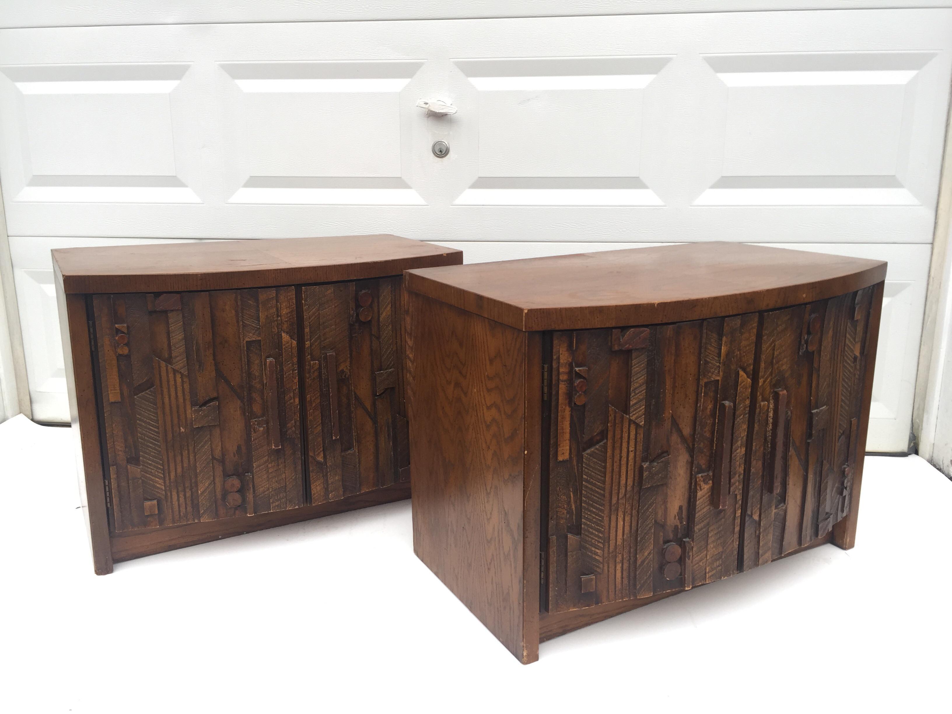 Vintage Brutalist Modern Lane Furniture Nightstands   A Pair   Image 2 Of 11