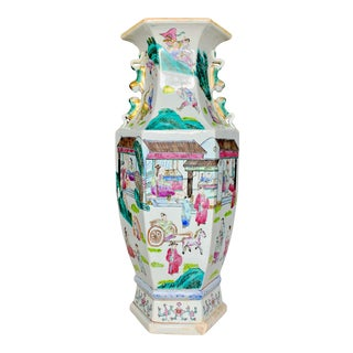 Hexagonal Hand Painted Chinese Ceramic Vase Urn For Sale