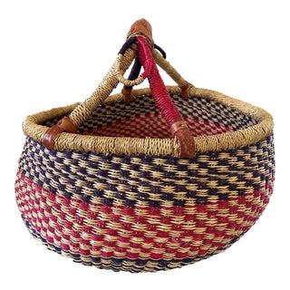 Lg African Bolga Ghana Market Basket For Sale