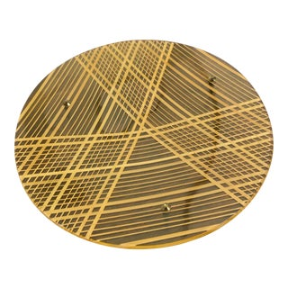 1970s Modern Lucite and Raffia Brass Footed Serving Plate For Sale