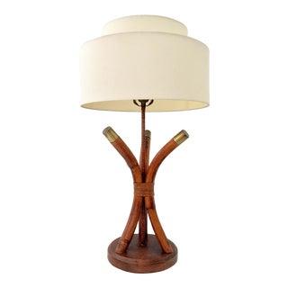Vintage Ficks Reed-Style Rattan & Brass Lamp